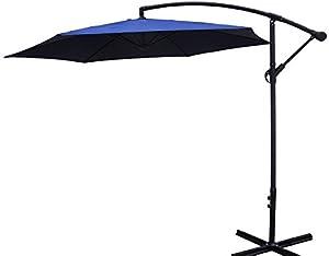 3m Cantilever Parasol Sun Shade Garden Umbrella - Crank Lift - Blue!