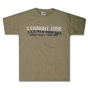 STRAIGHT EDGE - Kiss Your Beer - Tan T-shirt - SXE - size Youth Medium