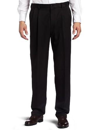 Haggar Men's Cool 18 Hidden Expandable Waist Pleat Front Pant,Black,30x30