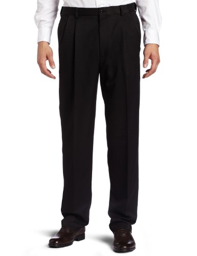 Haggar Men's Cool 18 Hidden Expandable Waist Pleat Front Pant,Black,44x32 (Haggar Cool 18 compare prices)