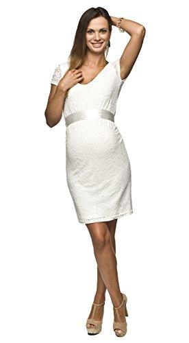Elegantes und bequemes Umstandskleid, Brautkleid, Hochzeitskleid für Schwangere Modell: Lace, weiss/creme, S