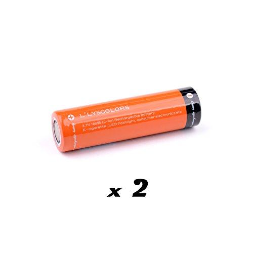 L'lysColors pile 18650 rechargeable 2 pcs pour lampes de poche LED, Vape (E-cigarette) et l'électronique grand public.
