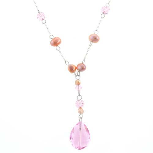Sterling Silver Pink Freshwater Cultured Pearl and Pink Crystal Necklace, 18