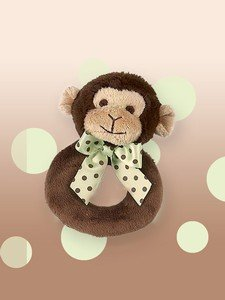 Bearington Baby Lil Giggles Monkey Ring Rattle