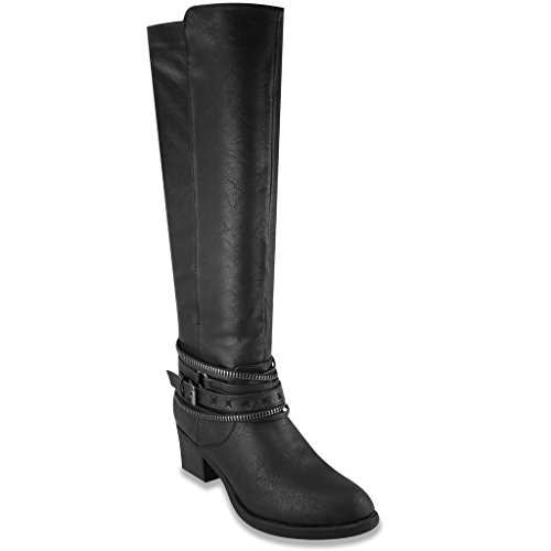 Rampage Womens VALLY Tall Shaft Boot 6.5 Black (Cowboy Boot Repair Kit compare prices)