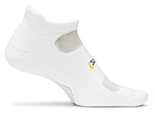 Feetures Women'S Light Cushion No Show Socks With Tab, White, Small (4-6.5)