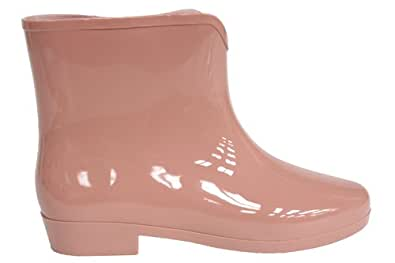 F1699Be Womens Nude Festival Ankle Wellies Wellington Rain Snow Boots Size Uk 3