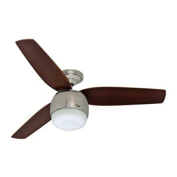 Factory Reconditioned Hunter HR28671 52 In Brushed Nickel Ceiling Fan With  LED Light