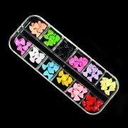 12Color 60Pcs Dots Bowtie Design Resin Nail Art Tips Decoration