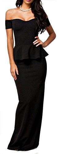 NuoReel Women's Drop shoulder Peplum Maxi Evening Dress (XX-Large, Black)