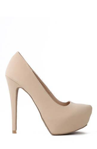 Qupid Sanity-01 Nubuck Almond Toe Platform Stiletto Pump - Nude Nubuck