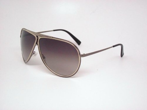 Giorgio Armani Sunglasses Authentic Aviator Mens Shiny Brown Light Gold Brown Gray Shaded Ga 570/s Qqk/yy