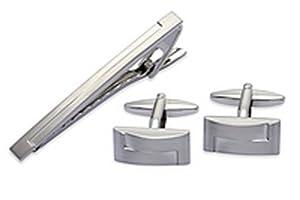 Brushed Imitation Rhodium Plating Cufflinks and Tie Clip Set
