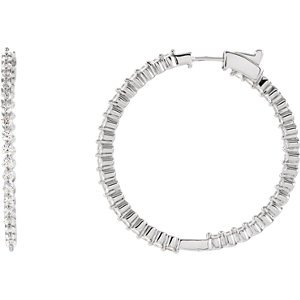 Sterling Silver 42mm Cubic Zirconia Hoop Earrings