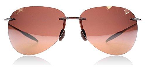Image of Maui Jim Sugar Beach Rimless Rectangular Polarized Sunglasses,Rootbeer Frame/HCL Bronze Lens,one size