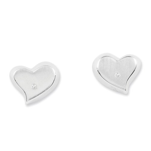 Sterling Silver White Ice Diamond Heart Earrings. Comes in a lovely Gift Box