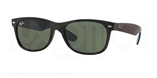 Ray-Ban New Wayfarer Sunglasses Rb2132 6182 Matte Black Green 52 18 145