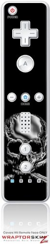 Wii Remote Controller Skin - Chrome Skull on Black by WraptorSkinzTM