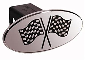 Racing Flags - Black - Oval - 2 Inch Billet Hitch Cover