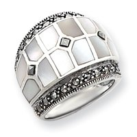Sterling Silver Marcasite and Mother of Pearl Ring - Size 6 - JewelryWeb