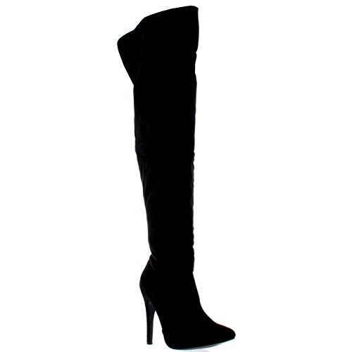Womens Platform Stretch High Heels Stiletto Over The Knee Thigh Boots - Black Suede - US9/EU40 - KL0049J