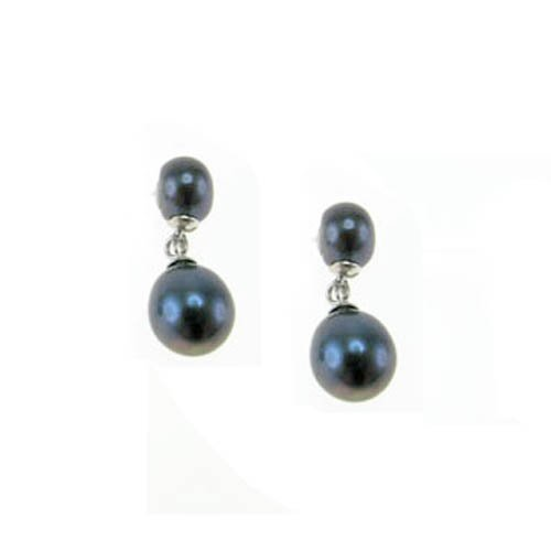 Peacock Blue Pearl Post & Dangle Earrings