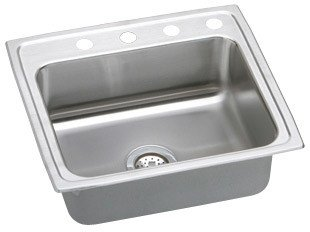 Elkao|#Elkay MLR25210 Elkay 18 Gauge Stainless Steel 25 Inch x 21.25 Inch x 7.875 Inch single Bowl Top Mount Coved Corners Kitchen Sink,