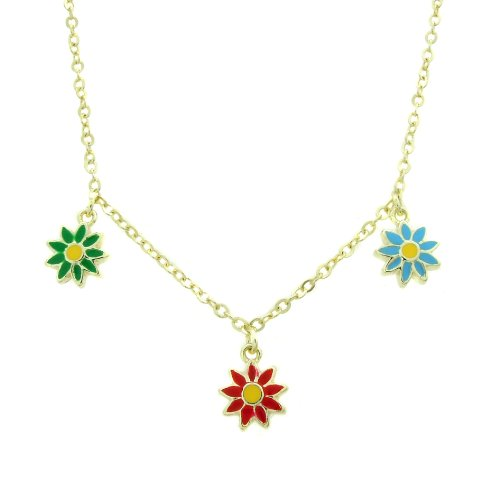 Lily Nily 18k Gold Overlay Children's Multi Colored Enamel Flowers Dangle Necklace