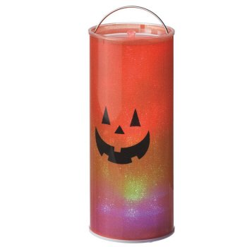 "12"" B/O Transparent Happy Jack O Lantern Led Color Changing Lighted Hanging Halloween Lantern"