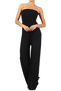 Kiwi Co. Alexa Solid Strapless Jumpsuit Black Large