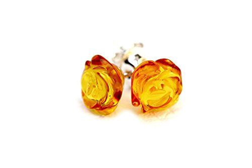925 Sterling Silver Stud Earrings Rose with Honey Genuine Natural Baltic Amber