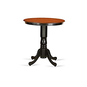 East West Furniture EDT-BLK-TP Eden Round Counter Height Table, Black/Cherry Finish