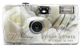 10 Pack Personalized White Rose Wedding Cameras - Matching Table Cards Included - 27 Exposures - Built-in-flash - 35mm - 400 ISO Film