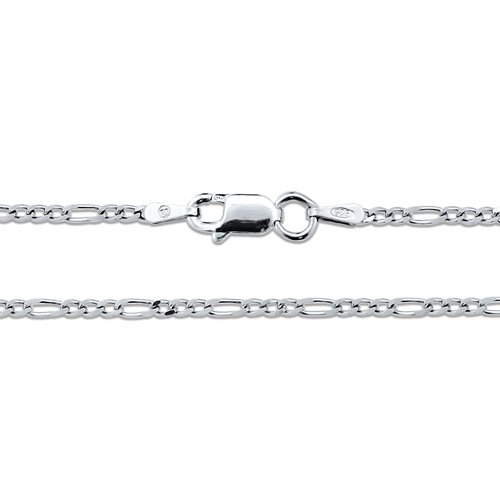 Sterling Silver 925 Figaro Chain Necklace 20 Inch - Nickel Free, Holiday Christmas Gift