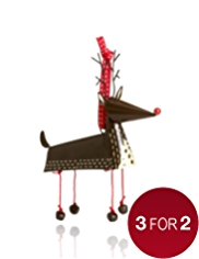Crimbleberry Wood Ron the Reindeer Tin Christmas Tree Decoration