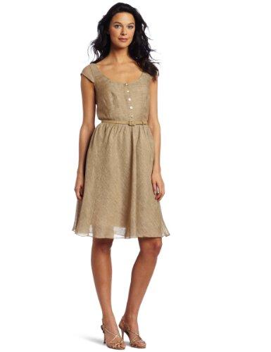 Jones New York Women's Linen Scoop Neck Button Up Dress