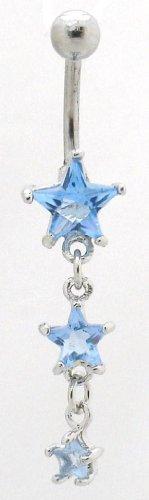 Pierced & Modified - Body Jewellery Belly Bars - Triple Star Dangle Navel Bar - Light Blue