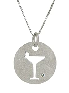 Sterling Silver 925 and Genuine Sparkling Diamond Cut Out Martini Glass Satin Finish Round Pendant Necklace