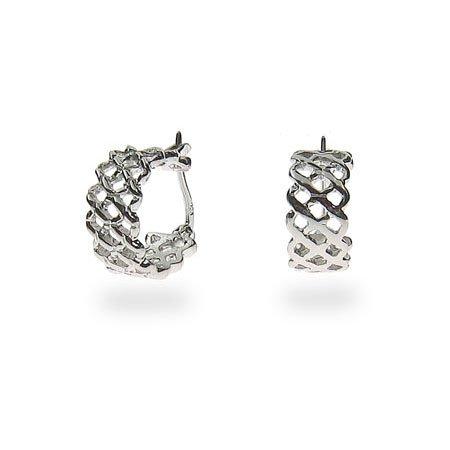 Sterling Silver Lattice Huggie Earrings