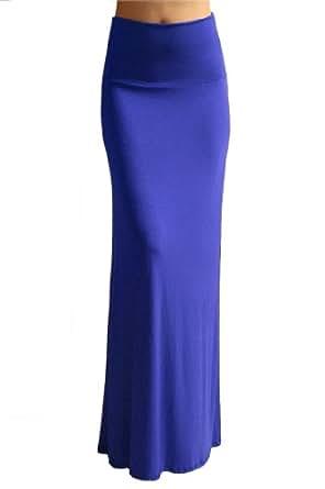 Azules Women'S Rayon Span Maxi Skirt - Blue S