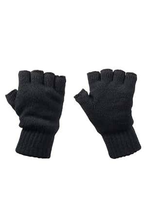 Mountain Warehouse Fingerless Knitted Mens Womens Unisex Everyday Lightweight Winter Gloves Black