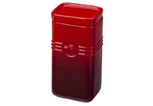 Cherry Red Stoneware Storage Jar