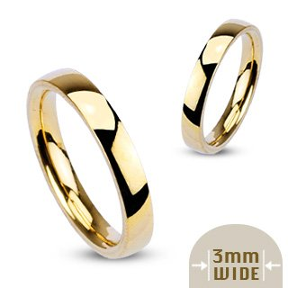 3MM Highly Polished 316L Stainless Steel Gold Ion Plated Comfort Fit Wedding Band Ring; Comes With FREE Gift Box (6.5)