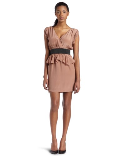 Aryn K Womens Ruffle Cocktail Dress, Dusty Apricot, Small