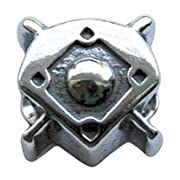 Genuine Zable (TM) Product. 925 Sterling Silver Baseball Diamond Charm. 100% Satisfaction Guaranteed.