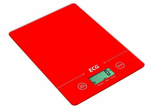 ECG KV 117 SLIM Balance culinaire à pile mesurant avec une précision de 1 g Rouge Charge max. 5kg