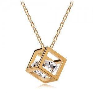 Box Cube Pandora Style-Collana con ciondolo in argento con diamanti e oro, stile Vintage, gioielli gioielli moda da donna