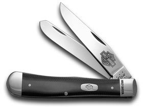CASE XX Harley Davidson® Motorcycles Black and Silver G-10 Trapper Pocket Knife Knives