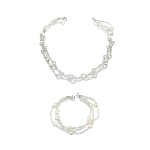 6-7mm Pearl and Crystal Bead Set, Necklace and Bracelet