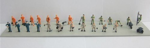 20 Assorted Painted Workers in Overalls OO